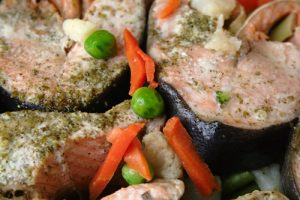 Baked Salmon Dijon with vegetables